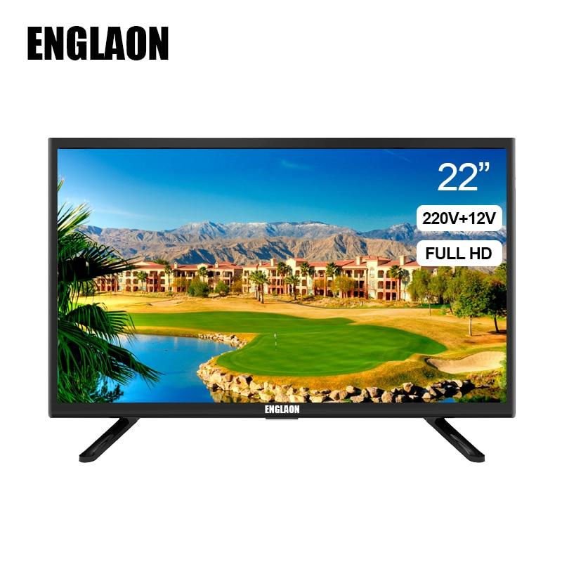 TV 22 pouces TV LED 12V 220V numérique Full HD TV dvb-T2 maison + voiture TV 22 pouces TV