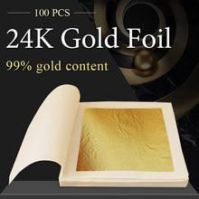 Листочек из съедобного золота листы, золотые хлопья, фольга, 100 шт., золото 24K, в крафт-бумаге, искусства, маска для украшения тортов Ha