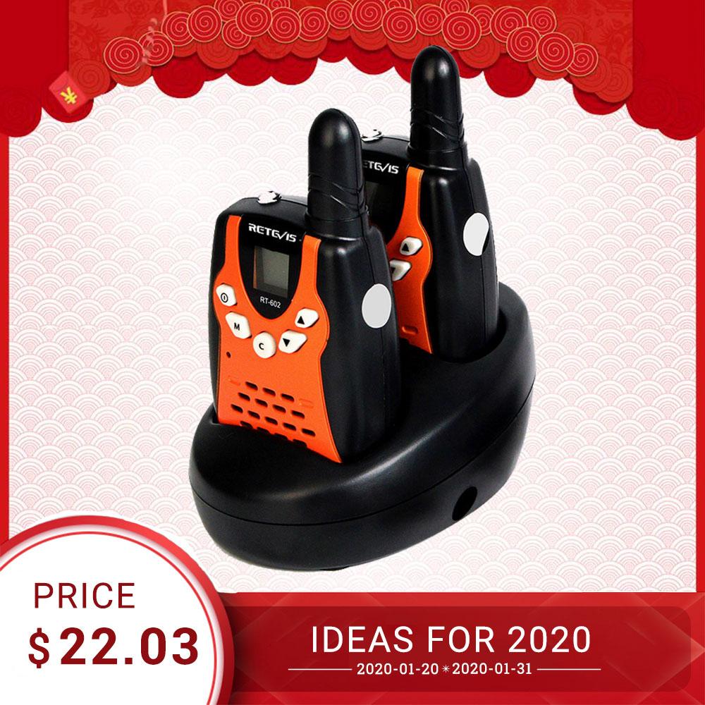 Retevis RT602 Kids Rechargeable Walkie Talkie 2pcs  PMR446 PMR 446MHz 0.5W Children Toy Two-way Radio Flashlight Christmas Gift