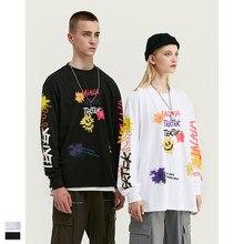 Cooo Coll Men women printing long t-shirt hip hop Personality Punk graffiti streetwear short sleeve  tops Tees casual t shirt
