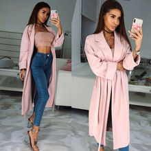 New Women Ladies Long Sleeve Belted Cardigan Trench Long Coat Duster Jacket Tops