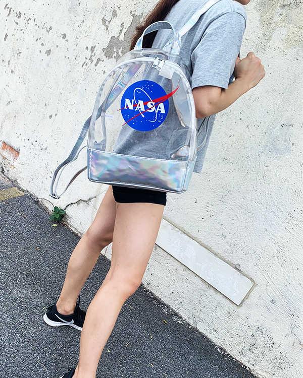 موضة شفافة إلكتروني ليزر بولي كلوريد الفينيل أكياس ظهر للسفر حقيبة كتف بولي Leather حقائب جلدية ثلاثية الأبعاد للفتيات في سن المراهقة