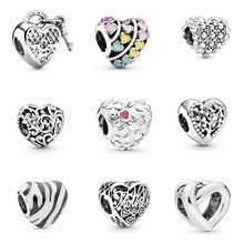 Original 925 Sterling Silver Beads Charm Heart Shape Zebra Pattern Tree Shape For Women Diy Pandora Charm Bracelet Necklace classic heart pattern bracelet for women