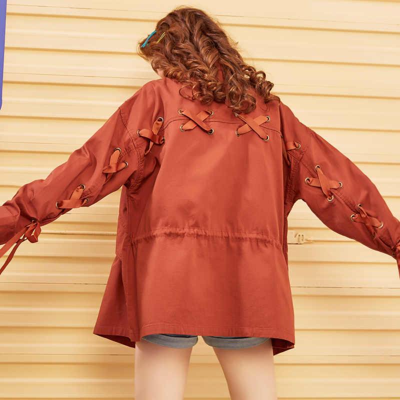 Metersbonwe Harajuku Vrouwen Herfst Winter Stand Kraag Trenchcoat Mode Overjassen Effen Kleur Outdoor Kleding