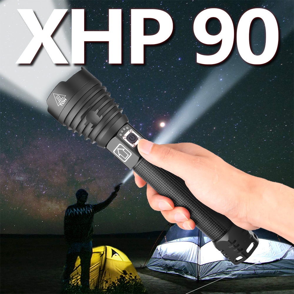 Powerful XHP50 XHP70.2 XHP90 LED Flashlight Rechargeable Torch Super Waterproof Zoom Best For Camping Fishing Hunting Light