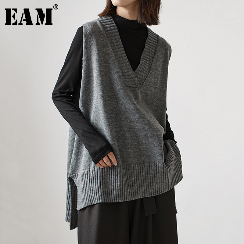 [EAM] Black Brief Big Size Knitting Sweater Loose Fit V-Neck Sleeveless Women Sweater New Fashion Tide Autumn Winter 2019 1H634