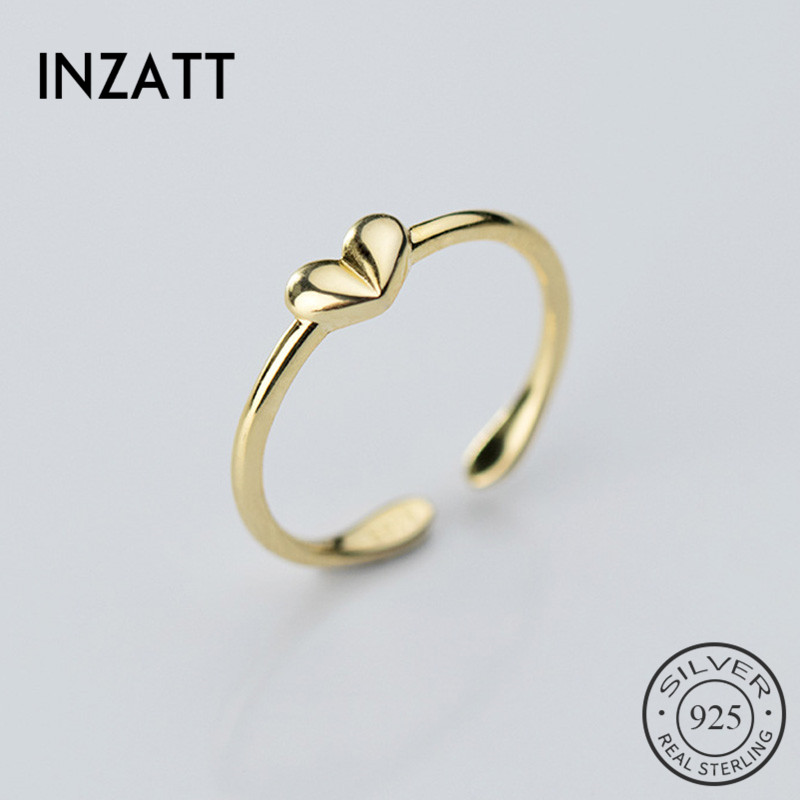 INZATT Real 925 Sterling Silver Heart Ring For Fashion Women Birthday Party Cute Fine Jewelry Minimalist Accessories Gift