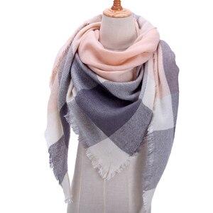 Image 1 - Designer 2020 knitted spring winter women scarf plaid warm cashmere scarves shawls luxury brand neck bandana  pashmina lady wrap