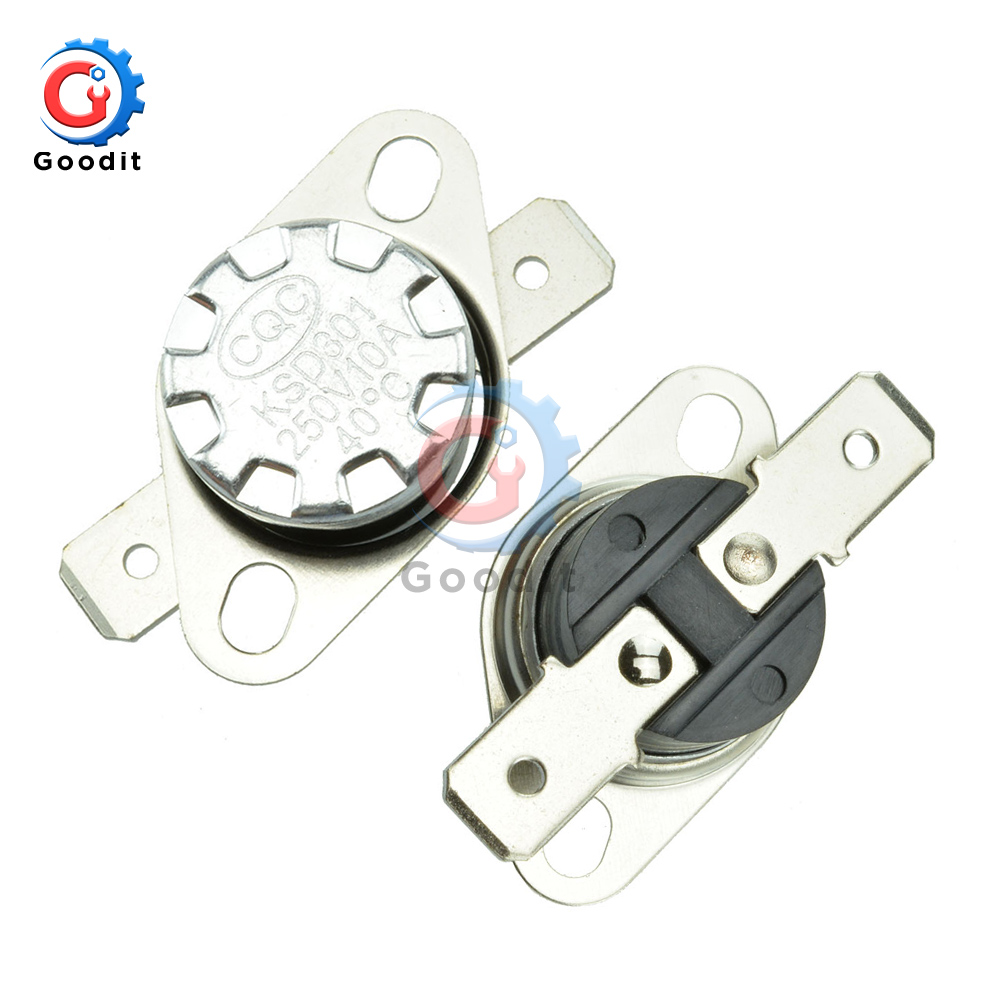 5pcs/lot KSD301 Normally Open Thermostat Temperature <font><b>Thermal</b></font> Control <font><b>Switch</b></font> <font><b>10A</b></font> <font><b>250V</b></font> 30 40-110 Degrees C (N.O.) On off NO <font><b>Switch</b></font> image