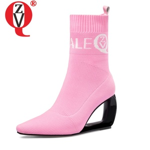Image 2 - ZVQ brand woman booties knitting wool stretch boots autumn winter cute pink fashion black hollow high heels womens shoes 43CN