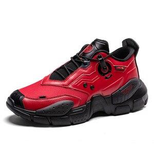 Image 4 - أحذية رياضية للرجال من ONEMIX أحذية بنمط تكنولوجي من الجلد أحذية مريحة للركض وممارسة الرياضة باللون الأحمر للسيدات أحذية ريترو أبي