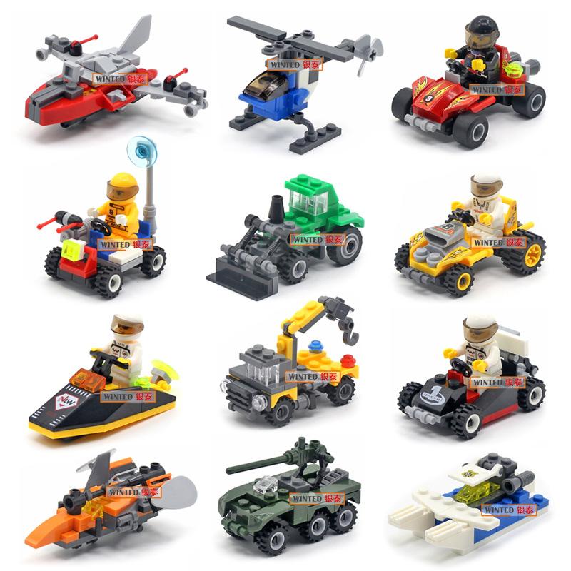 Original Mini Transportation Assembled Models Blocks Car Compatible small building block City Police Plane Bricks Toys Kid Gift