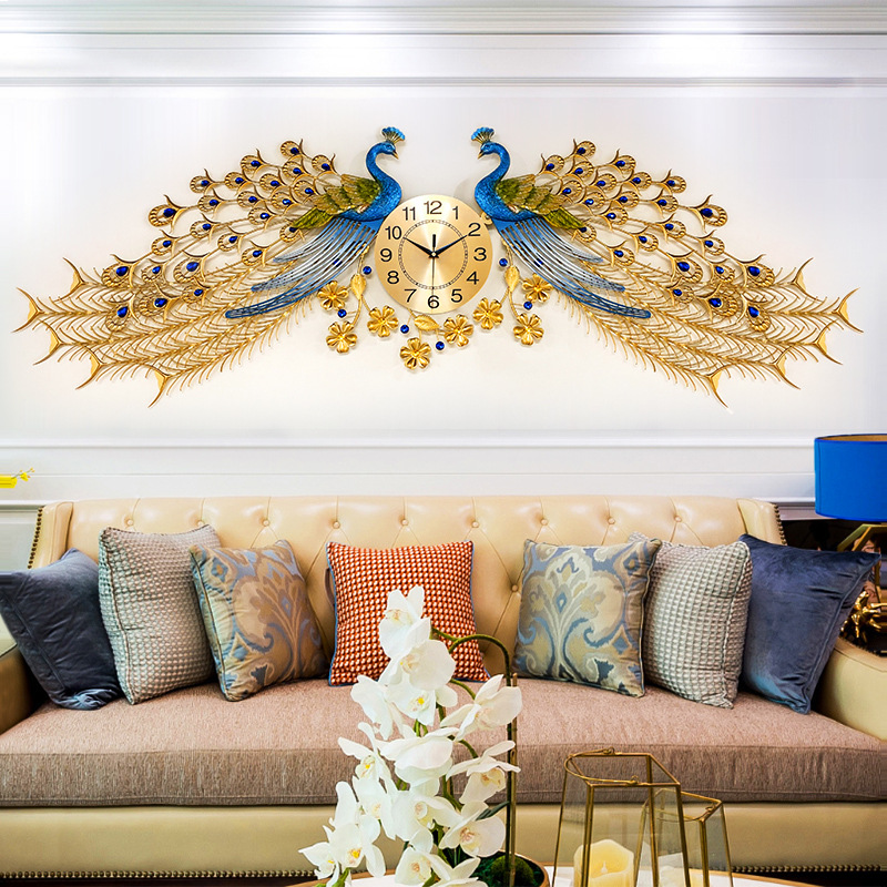 Large Golden Peacock Wall Clock Luxury Home Decor Silent Wall