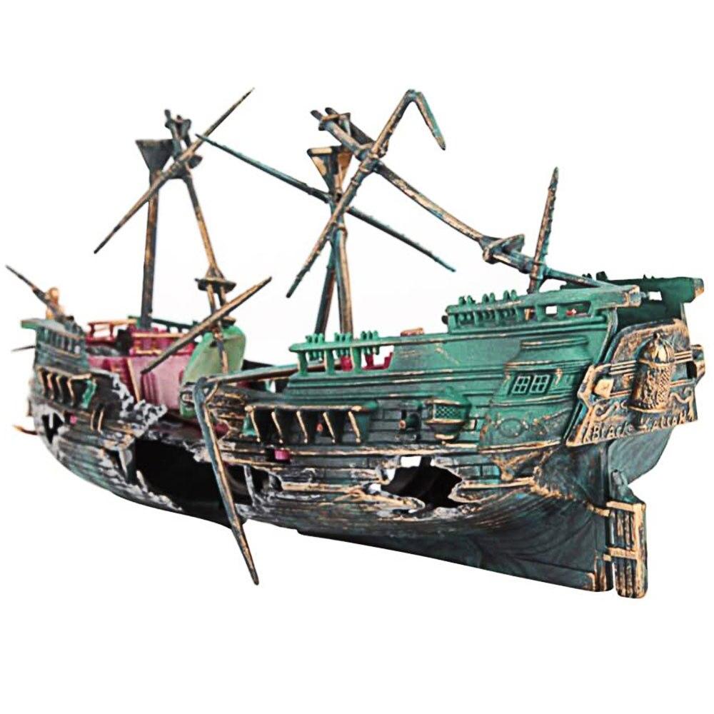 2021 Горячая аквариума пейзаж пиратский корабль крушение корабль домашнего декора смолы украшение в виде лодки аквариумные аксессуары украш...