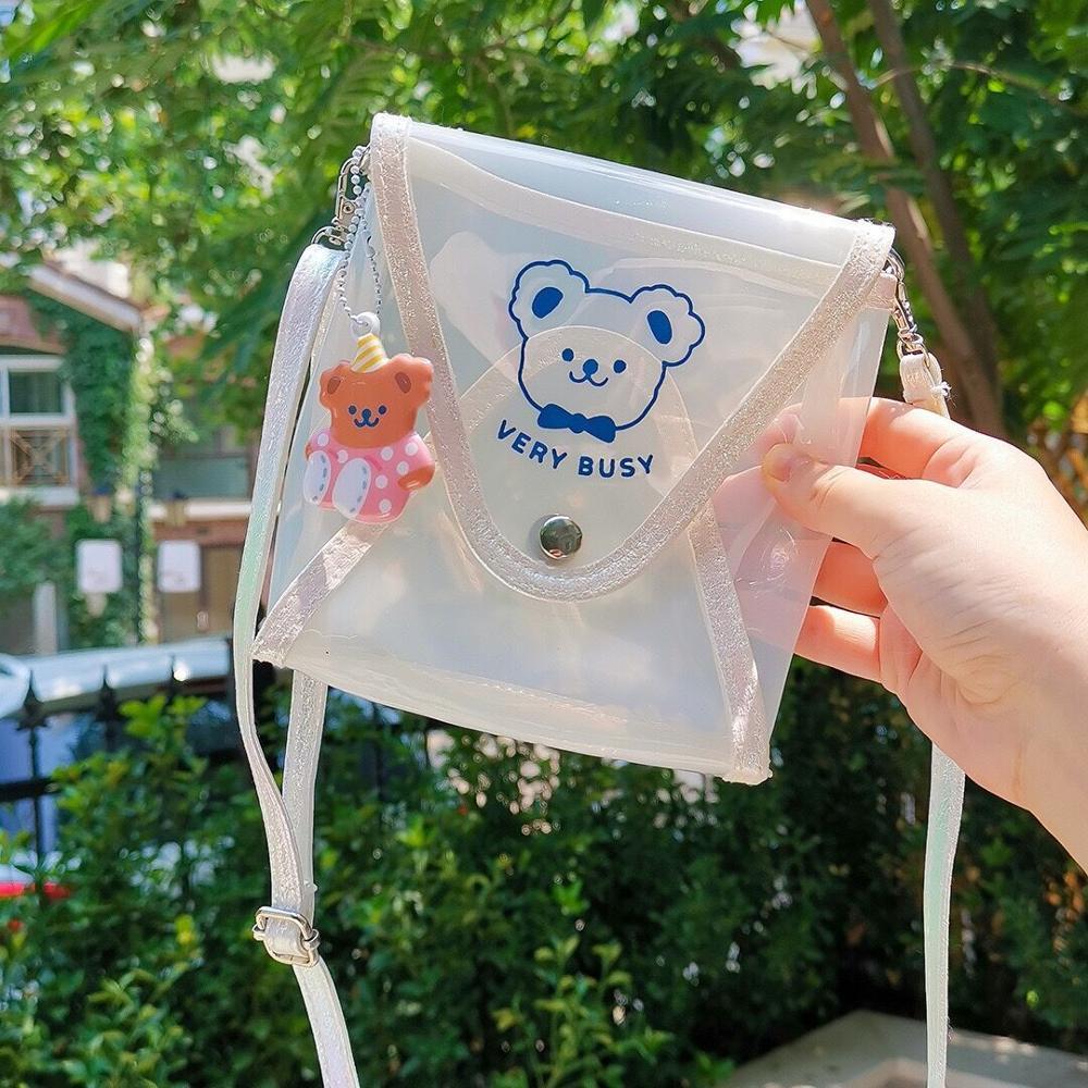 Bear Jelly Transparent Shoulder Bag Girls Cute Waterproof Crossbody Bag with Pendant Laser Storage Bags Korea Messenger Bag