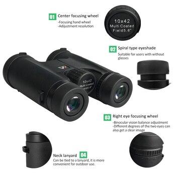 10X42 Binoculars Waterproof Professional Camping Hunting Telescope Zoom Bak4 Prism Optics with Binoculars Strap 2