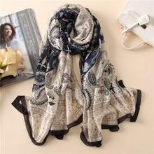 Luxury Silk Shawls and Wraps Neck Scarf For Women Paisley Print Kerchief Neck Scarfs 180*90cm Long Beach Shawl Scarves For Lady paisley print frayed trim scarf