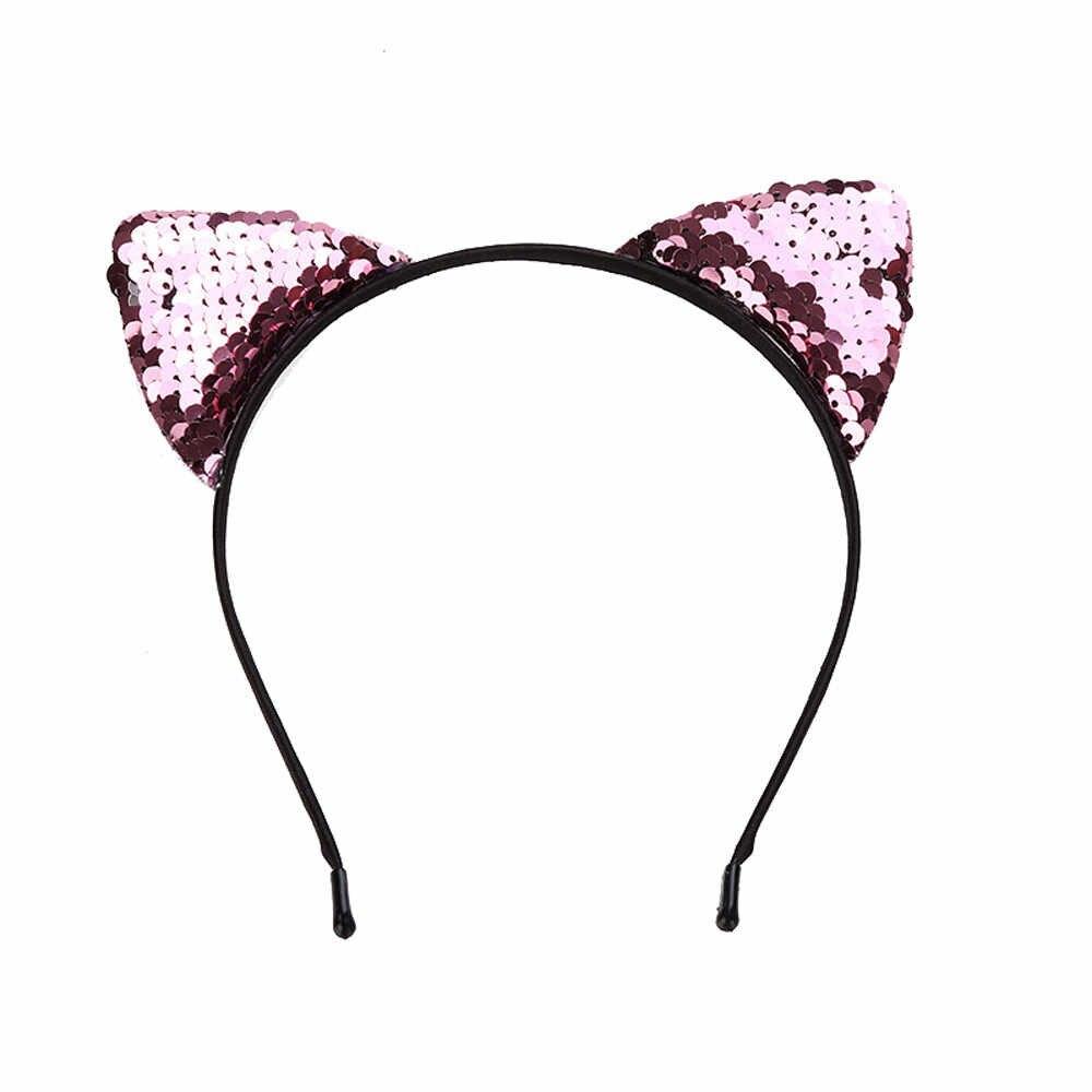 Moda feminina lantejoulas gato orelha cabeça corrente jóias faixa de cabelo férias bandana crianças bonito meninas lantejoulas cabeça hoop acessórios de cabelo