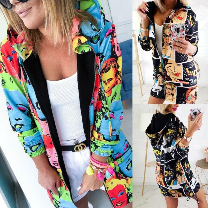 Fashion Women Floral Zipper Bomber Jacket Baseball Casual People Pattern Printing Ladies Coat Cool Outwear Hoodie Black Blue