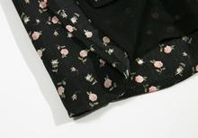 Black Floral Print Short Sleeve mini dress SF