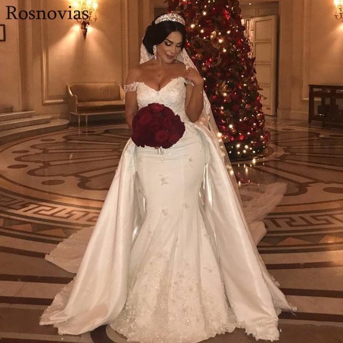 Luxury Mermaid Wedding Dresses With Detachable Train 2020 Off Shoulder Lace Appliques Vestido De Novia Modest Stain Bridal Gowns