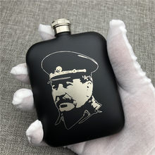 Can Customized 304 Stainless Steel Hip Flask Stalin 6 OZ 170ML Food Grade Portable Flask Alcohol Vodka Outdoors Camp Drinkware