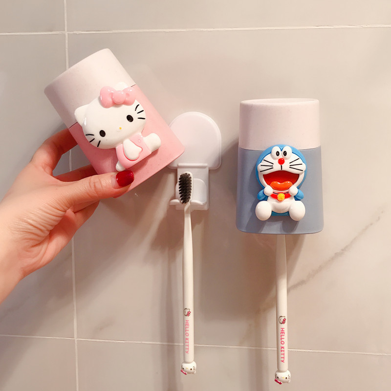 Cartoon Kitty Pink Water Cups Portable Toothbrush Holder Bathroom Plastic Washing Cup Good Morning Rinsing Cup Organizer Cup image