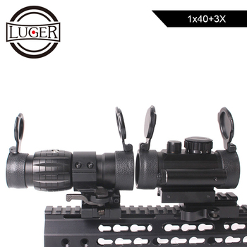 LUGER 1x40 Tactical Red Dot Sight Scope Compact 3X Magnifier Rifle Scope With Riser 20mm Mount Rail Combo Hunting Scope on scope