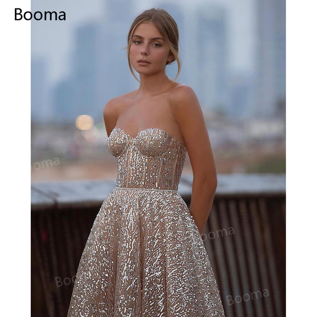 Booma Glitter Sequin Lace Prom Dresses Sweetheart A-Line Short Prom Gowns Open Back Sleeveless Tea-Length Formal Party Gowns 5