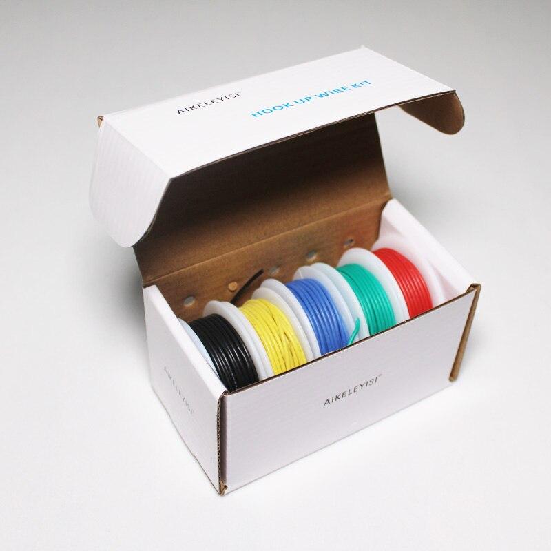 30/28/26/24/22/20/18awg (kit de fio encalhado mistura de 5 cores) fio de silicone de borracha isolado cabo de fio elétrico