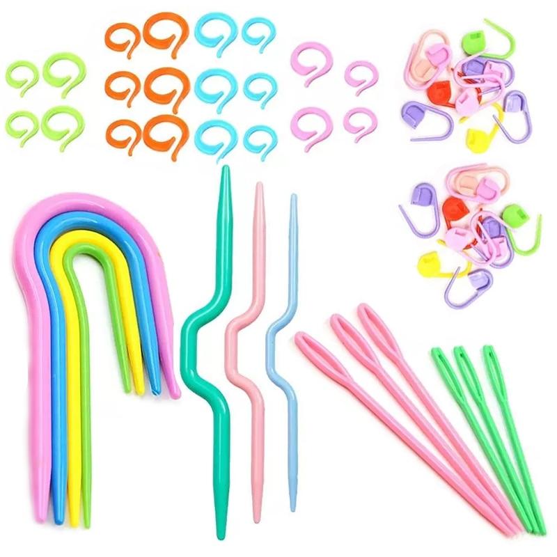 Nonvor 53 pçs kit de marcador de crochê com agulhas de plástico de olho grande, anel de marcador de ponto, clipes de crochê, agulhas de forma de u