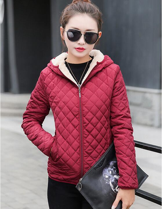 Autumn 2019 New Parkas Basic Jackets Women Winter Velvet Lamb Hooded Coats Cotton Winter Jacket Women Outerwear Coats