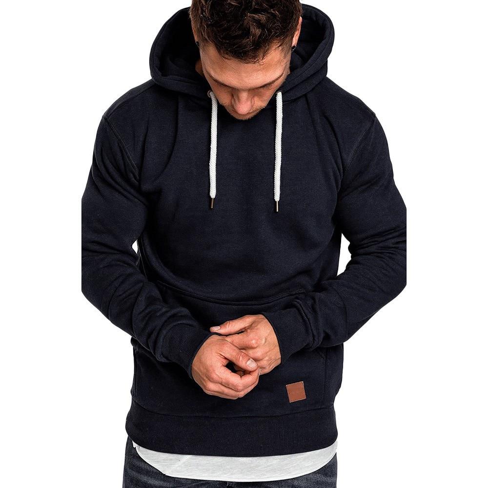 Sweatshirt Men Hoodies Male O-Neck Solid Hoodie Men Size 4XL Poleron Hombre Casual Pullover,Black,XXL