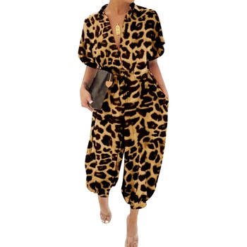 Leopard Print Jumpsuit Women Summer Turn down Collar Short Sleeve Casual Jumpsuit Overalls Long Loose Rompers Womens Jumpsuit фото