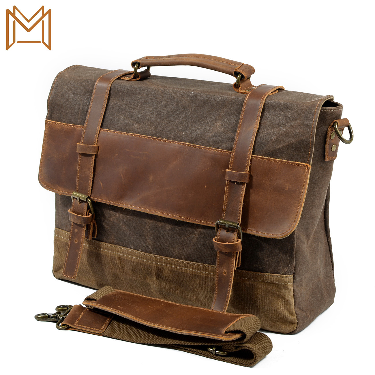 Waterproof Wax Oil Canvas Match Cowhide Briefcase Male Package Business Affairs Package Single Shoulder Messenger Handbag