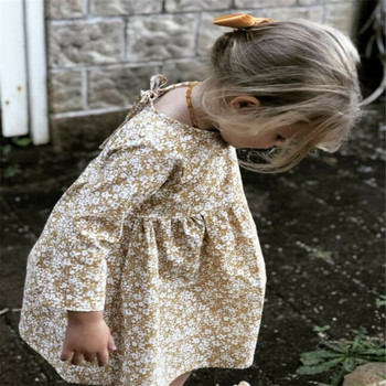 Cute Baby Girls Dress Autumn Winter Floral Long Sleeve Kids Dresses For Girls Toddler Long Sleeve Infant Girl Mini Dress glowwormkids autumn winter baby girl suit plaid printing long sleeve coat dress without sleeve hs101