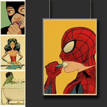 Funny superhero posters bathroom decoration posters and engraving rooms with cool wall pictures canvas painting art top posters холст сакура top posters 50х100х2см g 1012h