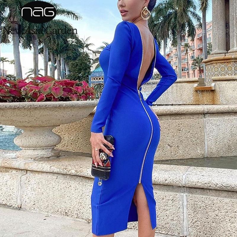 NewAsia Blue Party Dress Long Sleeve Zipper High Waist V Neck Stretch Long Dresses for Women Sexy Club Outfits Autumn Streetwear