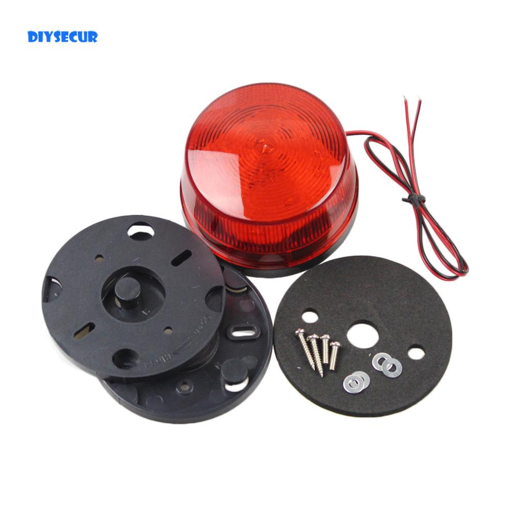 DIYSECUR 12V Security Alarm Strobe Signal Warning Siren Red LED Lamp Flashing Light