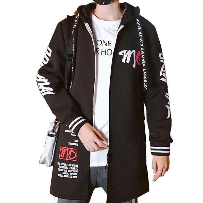 North Winter Jacket Men Hip Hop Trench Long Coat Steam Punk Face Korean Clothes Hoodies Windbreaker Plus Size 3XL Ropa Hombre