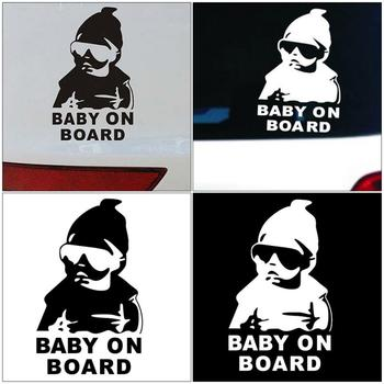 14*9CM BABY ON BOARD Cool Rear Reflective Sunglasses Child Car Stickers Warning Decals Black/white Car Styling TSLM1 image