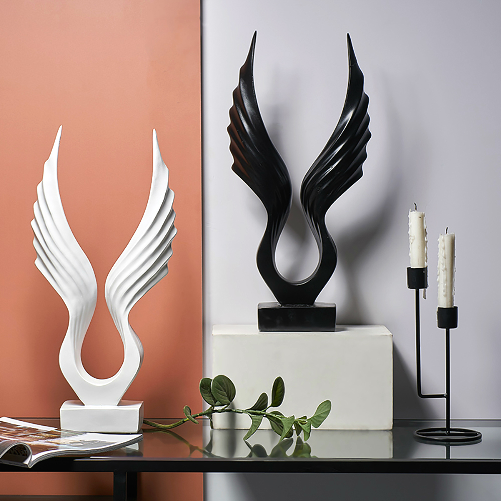 2 Color Modern Abstract Black/White Wings Feather Statue Desktop Resin Wings Crafts Sculpture Home Decor Wings Figurine Artware