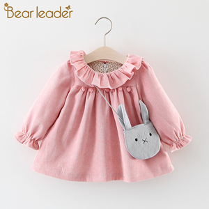 Bear Leader Baby Girls Dresses with Bag 2pcs Clothes Sets Kids Clothes Baby Birthday Party Princess Dress Autumn Winter Clothes(China)