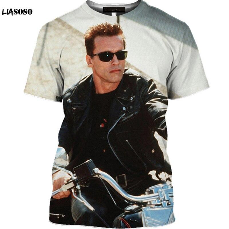 LIASOSO 3D Summer Short-Sleeved Gym Men's T-Shirt Sci-fi Movie The Terminator T-Shirt Casual Bikini Beauty Shirt Mech Skull Tops
