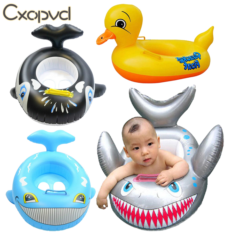 Baby Swimming Ring Float for Kids - Inflatable Pool Floats - Little Yellow Duck Small Shark Swimming Ring - Fun Swim Trainer