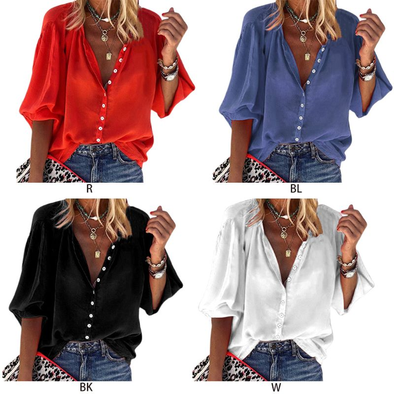 Women Long Sleeve Pullover T Shirt Casual Deep V Neck Blouse Solid Loose Top BL