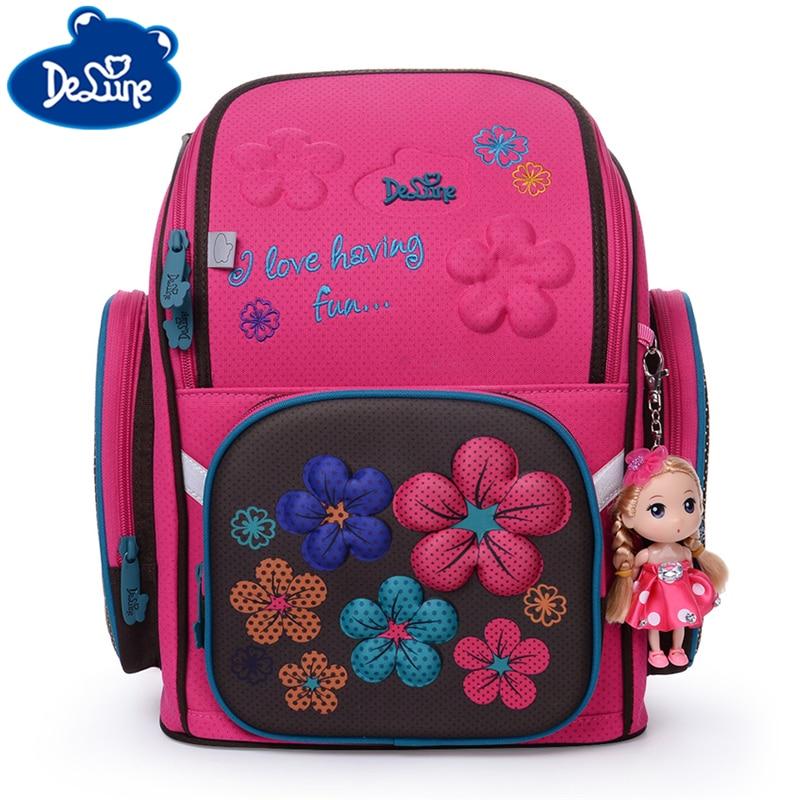 Delune School Bags Children School Backpack For Girls Kids Orthopedic Backpack Children's School Bag Motorcycle