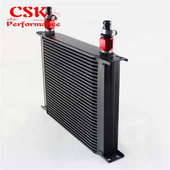 30 Row AN10 Universal Aluminum Engine Transmission 248mm Oil Cooler British Type w/ Fittings Kit Black