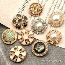 6pcs 18mm - 25mm Vintage Pearl Buttons for Suit Coat Needlework Sweater Women Metal Diamond Button Dress Decorative Clothing
