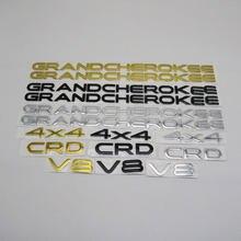 Emblema para Jeep Grand Cherokee Patriot Wrangler Compass Renegade 4X4 CRD V8, para guardabarros trasero